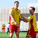 Albion's John Gemmell (19) celebrates with Gary Fisher after he scores their second goal.