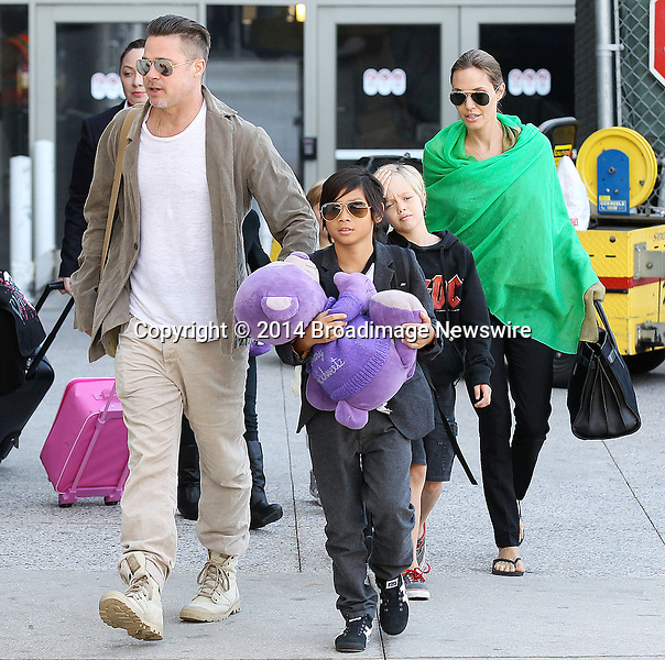 Pictured: Brad Pitt, Angelina Jolie, Shiloh Nouvel Jolie-Pitt, Maddox Chivan Jolie-Pitt, Pax Thien Jolie-Pitt, Knox Leon Jolie-Pitt, Zahara Marley Jolie-Pitt, Vivienne Marcheline Jolie-Pitt<br /> Mandatory Credit &copy; Ben Foster/Broadimage<br /> Brad Pitt, Angelina Jolie and family arriving at the Los Angeles International Airport<br /> <br /> 2/5/14, Los Angeles, California, United States of America<br /> <br /> Broadimage Newswire<br /> Los Angeles 1+  (310) 301-1027<br /> New York      1+  (646) 827-9134<br /> sales@broadimage.com<br /> http://www.broadimage.com<br /> <br /> <br /> Pictured: Brad Pitt, Angelina Jolie, Shiloh Nouvel Jolie-Pitt, Maddox Chivan Jolie-Pitt, Pax Thien Jolie-Pitt, Knox Leon Jolie-Pitt, Zahara Marley Jolie-Pitt, Vivienne Marcheline Jolie-Pitt<br /> Mandatory Credit &copy; Ben Foster/Broadimage<br /> Brad Pitt, Angelina Jolie and family arriving at the Los Angeles International Airport<br /> <br /> 2/5/14, Los Angeles, California, United States of America<br /> Reference: 020514_HDLA_BDG_012<br /> <br /> Broadimage Newswire<br /> Los Angeles 1+  (310) 301-1027<br /> New York      1+  (646) 827-9134<br /> sales@broadimage.com<br /> http://www.broadimage.com