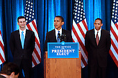 Chicago, IL - November 25, 2008 -- United States President-elect Barack  Obama presents his economic team, Peter Orszag, left, as Director of the Office of Management and Budget (OMB) and Rob Nabors, right, Deputy Director of OMB  his third press conference at the Chicago Hilton & Towers in Chicago, Illinois on Tuesday, November 25, 2008..Credit: Steve Leonard - Pool via CNP