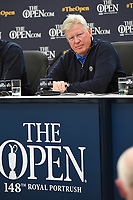R&A Chief Executive Martin Slumbers answers questions during a morning press conference during the preview of the the 148th Open Championship, Royal Portrush golf club, Portrush, Antrim, Northern Ireland. 7/17/2019.<br /> Picture Ken Murray / Golffile.ie<br /> <br /> All photo usage must carry mandatory copyright credit (© Golffile | Ken Murray)