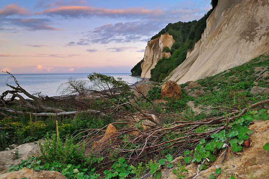 Landslide Store Taler at Møns Klint with view on the Hylledals Slugt, Denmark