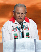 Native American Governor Eddie Torres delivers an innovation to open the fourth session of the 2016 Democratic National Convention at the Wells Fargo Center in Philadelphia, Pennsylvania on Thursday, July 28, 2016.<br /> Credit: Ron Sachs / CNP<br /> (RESTRICTION: NO New York or New Jersey Newspapers or newspapers within a 75 mile radius of New York City)
