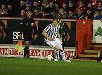 Paul Dummett in the Aberdeen v St Mirren Scottish Communities League Cup match played at Pittodrie Stadium, Aberdeen on 30.10.12.