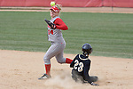 MADISON, WI - APRIL 15: Second baseman Theresa Boruta #14 of the Wisconsin Badgers attempts a double-play against the Purdue Boilermakers at the Goodman Diamond softball field on April 15, 2007 in Madison, Wisconsin. (Photo by David Stluka)