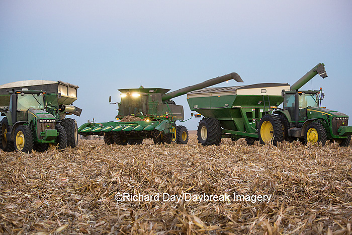 63801-06807 John Deere combine and wagons in corn field, Marion Co., IL