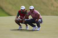 Brooks Koepka (USA) on the 8th green during Saturday's Round 3 of the 117th U.S. Open Championship 2017 held at Erin Hills, Erin, Wisconsin, USA. 17th June 2017.<br /> Picture: Eoin Clarke | Golffile<br /> <br /> <br /> All photos usage must carry mandatory copyright credit (&copy; Golffile | Eoin Clarke)