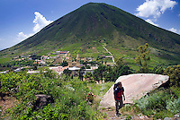 Salina, Eolian Islands, Italy, June 2006. From the village of Leni we climb up the Monte Fossa delle Felci to get a good view over her sister Monte dei Porri on the other side of the valley. The Volcanic Eolian Islands of Southern Italy offer a spectacular landscape for trekking while staying in picturesque towns. Photo by Frits Meyst/Adventure4ever.com
