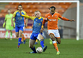 18/12/18 The Emirates FA Cup, 2nd Round Replay Blackpool v Solihull Moor<br /> <br /> Alex Gudger battles with Nathan Delfouneso