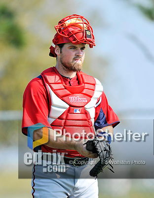 20 February 2011: Washington Nationals' catcher Derek Norris finishes a catching session during Spring Training at the Carl Barger Baseball Complex in Viera, Florida. Mandatory Credit: Ed Wolfstein Photo