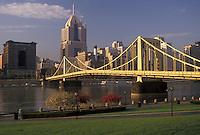 AJ4293, Pittsburgh, downtown, skyline, bridge, Pennsylvania, View of the downtown skyline and 9th street Bridge in Pittsburgh along the Allegheny River in the state of Pennsylvania.