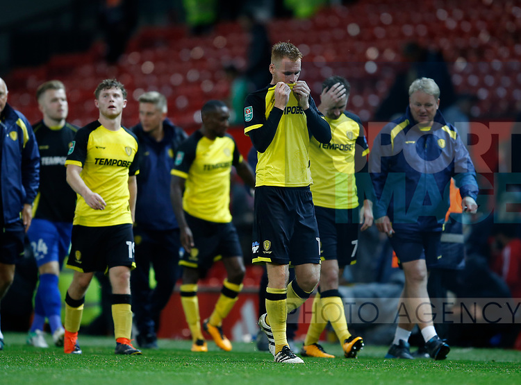Tom Naylor of Burton Albion dejected as he leaves the pitch during the Carabao Cup Third Round match at the Old Trafford Stadium, Manchester. Picture date 20th September 2017. Picture credit should read: Simon Bellis/Sportimage