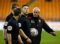 Morecambe assistant manager Ken McKenna appeals to referee Marc Edwards after the match <br /> <br /> Photographer Alex Dodd/CameraSport<br /> <br /> EFL Leasing.com Trophy - Northern Section - Group G - Blackpool v Morecambe - Tuesday 3rd September 2019 - Bloomfield Road - Blackpool<br />  <br /> World Copyright © 2018 CameraSport. All rights reserved. 43 Linden Ave. Countesthorpe. Leicester. England. LE8 5PG - Tel: +44 (0) 116 277 4147 - admin@camerasport.com - www.camerasport.com