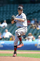 Pitcher Dylan Cease (7) of Milton High School in Milton, Georgia during the Under Armour All-American Game on August 24, 2013 at Wrigley Field in Chicago, Illinois.  (Mike Janes/Four Seam Images)