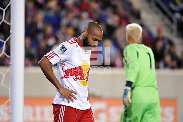 Thierry Henry (14) of the New York Red Bulls. The New York Red Bulls defeated Sporting Kansas City 1-0 during a Major League Soccer (MLS) match at Red Bull Arena in Harrison, NJ, on April 30, 2011.