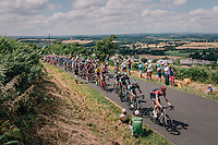 peloton up the 3rd climb of the day<br /> <br /> Stage 5: Lorient &gt; Quimper (203km)<br /> <br /> 105th Tour de France 2018<br /> &copy;kramon