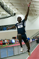 Lincoln University sophomore Sedeekie Edie jumps to victory in the triple jump on the final attempt of the competition at the NCAA Division II Indoor Track and Field Championships in Pittsburg, Ks. Friday. Edie's winning jump measured 26-1.75.