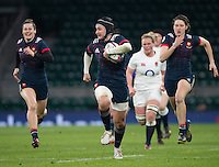 Twickenham, United Kingdom.  Shannon IZAR, with an early break away try, to put frace in an earlu lead,   Women's RBS. Six Nations : England Women  vs France Women. at the  RFU Stadium, Twickenham, England, <br /> <br /> Saturday  04/02/2017<br /> <br /> [Mandatory Credit; Peter Spurrier/Intersport-images]