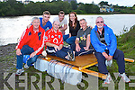 Denis McDonald and Frank Moloney centre still floating after the Astella's Raft race in Killorglin on Friday with their pit crew l-r: Brendan Foley, Flor O'Mahony, Michael Lucey, Niamh Masterson, and William McElligot