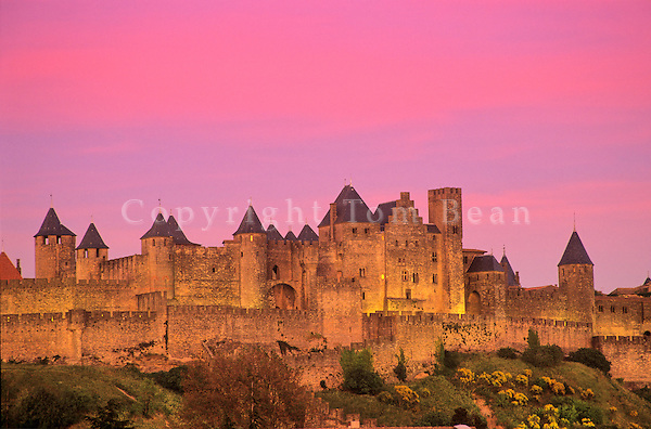 Fortified medieval city of Carcassonne at sunset, Languedoc, southwestern France, AGPix_0107.
