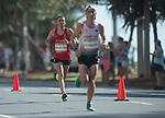 Wales Josh Griffiths in action during the Men's Marathon<br /> <br /> *This image must be credited to Ian Cook Sportingwales and can only be used in conjunction with this event only*<br /> <br /> 21st Commonwealth Games - Marathon - Day 11 - 11\04\2018 - Gold Coast City - Australia