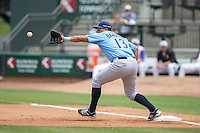 Wilmington Blue Rocks first baseman Joshua Banuelos (13) stretches for a throw during the game against the Winston-Salem Dash at BB&T Ballpark on June 5, 2016 in Winston-Salem, North Carolina.  The Dash defeated the Blue Rocks 4-0.  (Brian Westerholt/Four Seam Images)