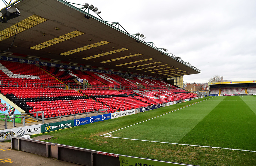 A general view of Sincil Bank, home of Lincoln City FC<br /> <br /> Photographer Andrew Vaughan/CameraSport<br /> <br /> The EFL Sky Bet League Two - Lincoln City v Yeovil Town - Friday 8th March 2019 - Sincil Bank - Lincoln<br /> <br /> World Copyright © 2019 CameraSport. All rights reserved. 43 Linden Ave. Countesthorpe. Leicester. England. LE8 5PG - Tel: +44 (0) 116 277 4147 - admin@camerasport.com - www.camerasport.com