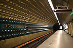 The colorful, uniquely designed interior of a Prague Metro station, Prague, Czech Republic, Europe