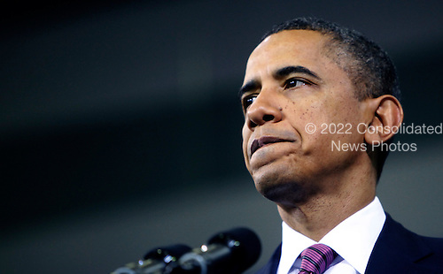 United States President Barack Obama makes a statement on the economy at James Lee Community Center in Falls Church, Virginia on Wednesday, February 1, 2012..Credit: Dennis Brack / Pool via CNP
