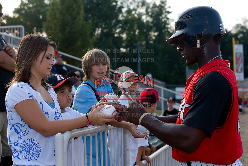 Jared Mitchell #35 of the Kannapolis Intimidators signs autographs at Fieldcrest Cannon Stadium July 10, 2009 in Kannapolis, North Carolina. (Photo by Brian Westerholt / Four Seam Images)