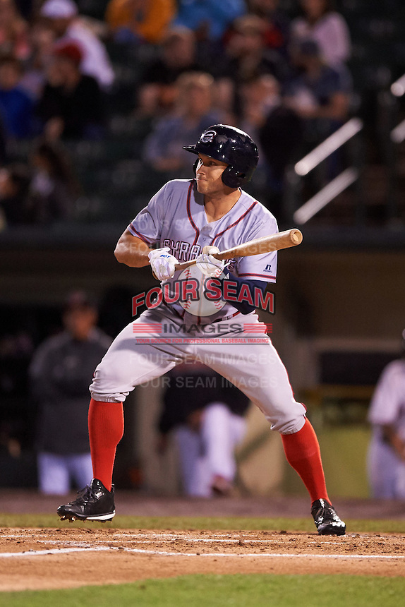 Syracuse Chiefs right fielder Matt den Dekker (3) squares to bunt during a game against the Rochester Red Wings on July 1, 2016 at Frontier Field in Rochester, New York.  Rochester defeated Syracuse 5-3.  (Mike Janes/Four Seam Images)