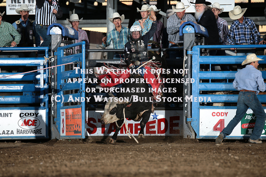Trey Benton, Dark Moment, during the PRCA XTreme Bulls. Photo by Andy Watson. All Photos (C) Watson Rodeo Photos, INC. Any use must have written Permission.