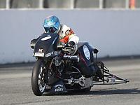 Feb 8, 2020; Pomona, CA, USA; NHRA top fuel nitro Harley Davidson motorcycle rider Rich Vreeland during qualifying for the Winternationals at Auto Club Raceway at Pomona. Mandatory Credit: Mark J. Rebilas-USA TODAY Sports