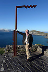 Joe Dolan, President, IHF pictured at Dun Chaoin overlooking Coomeenole Strand and The Blasket Islands in West Kerry during a fact finding tour of Slea Head as part of the National Tourism Forum which took place in Killarney at the weekend. Over 200 delegates from all over Ireland attend the inaugural event which was addressed by national and international speakers.<br /> Photo: Don MacMonagle<br /> <br /> Repro free photo