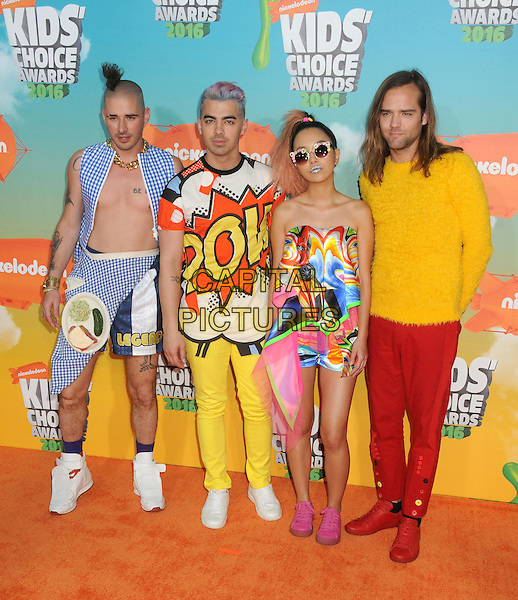12 March 2016 - Inglewood, California - Cole Whittle, Joe Jonas, JinJoo Lee, Jack Lawless, DNCE. 2016 Nickelodeon Kids' Choice Awards held at The Forum.  <br /> CAP/ADM/BP<br /> &copy;BP/ADM/Capital Pictures