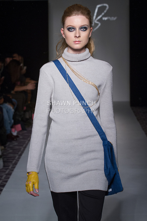 Model walks runway in an outfit from the Jimmy Burner Fall Winter 2017 collection by Jimmy Burner, during the Designers' Premier Fall Winter 2017 runway show on February 11, 2017; during FGNYFW Fall Winter 2017.