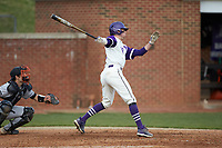 Sam Zayicek (28) of the High Point Panthers follows through on his swing against the Campbell Camels at Williard Stadium on March 16, 2019 in  Winston-Salem, North Carolina. The Camels defeated the Panthers 13-8. (Brian Westerholt/Four Seam Images)
