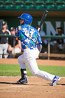 Garrett Kennedy (47) of the Ogden Raptors at bat against the Grand Junction Rockies in Pioneer League action at Lindquist Field on July 5, 2015 in Ogden, Utah.Ogden defeated Grand Junction 12-2.  (Stephen Smith/Four Seam Images)