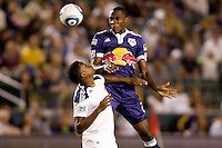 New York Red Bulls midfielder Tony Tchani does high for a ball. The New York Red Bulls beat the LA Galaxy 2-0 at Home Depot Center stadium in Carson, California on Friday September 24, 2010.