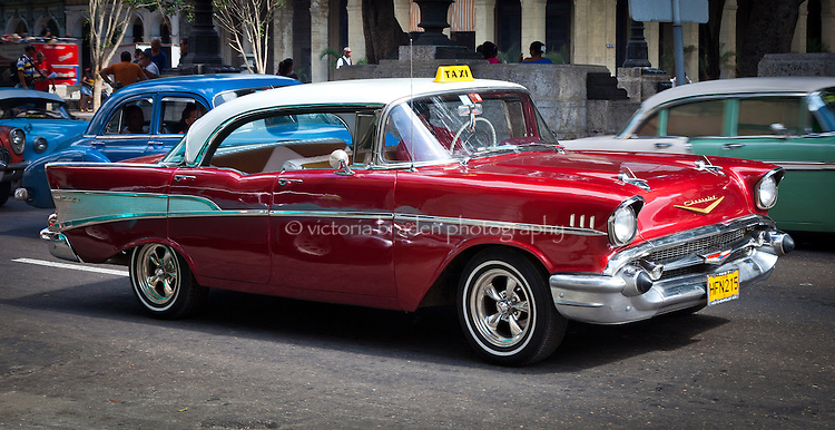 A stunningly restored Chevy Bel-Air stands outs from the other cars in Old Havana, Cuba.