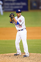 Chattanooga Lookouts relief pitcher Juan Noriega (51) looks to his catcher for the sign against the Montgomery Biscuits at AT&T Field on July 24, 2014 in Chattanooga, Tennessee.  The Biscuits defeated the Lookouts 6-4. (Brian Westerholt/Four Seam Images)