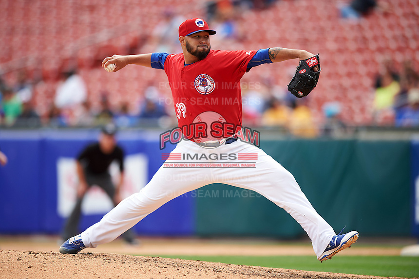 Buffalo Bisons relief pitcher Dustin Antolin (39) delivers a pitch during a game against the Scranton/Wilkes-Barre RailRiders on July 2, 2016 at Coca-Cola Field in Buffalo, New York.  Scranton defeated Buffalo 5-1.  (Mike Janes/Four Seam Images)