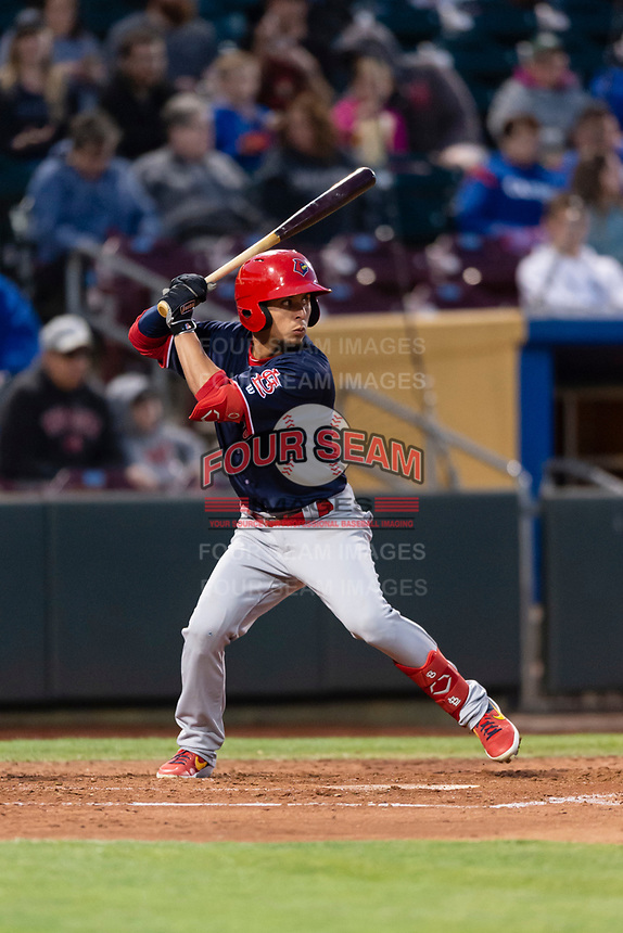Memphis Redbirds second baseman Ramon Urias (19) during a Pacific Coast League game against the Omaha Storm Chasers on April 26, 2019 at Werner Park in Omaha, Nebraska. Memphis defeated Omaha 7-3. (Zachary Lucy/Four Seam Images)