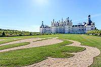 France, Loire-et-Cher (41), Chambord, château de Chambord, les jardins à la française