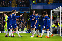 Chelsea's Davide Zappacosta celebrates his side's second goal with team mates <br /> <br /> Photographer Craig Mercer/CameraSport<br /> <br /> The Premier League - Chelsea v Crystal Palace - Saturday 10th March 2018 - Stamford Bridge - London<br /> <br /> World Copyright &copy; 2018 CameraSport. All rights reserved. 43 Linden Ave. Countesthorpe. Leicester. England. LE8 5PG - Tel: +44 (0) 116 277 4147 - admin@camerasport.com - www.camerasport.com