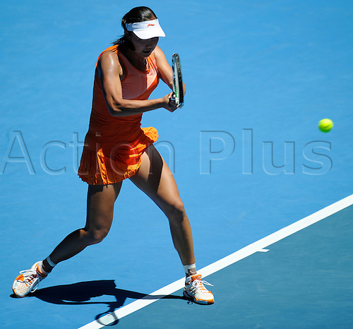 20.01.2011 Australian Open Tennis from Melbourne Park. Shuai Peng of China returns a shot in her match against Jelena Jankovic of Serbia on day four of the 2011 Australian Open at Melbourne Park, Melbourne, Australia.