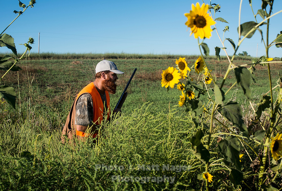 Opening day of the dove hunting season began with open fields full of hunters on Kansas State Wildlife fields near Wamego, Kansas, Sunday, September 1, 2013. Opening day is known for being a festive day of hunting with family and friends. <br /> <br /> Photo by Matt Nager