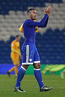 Kenneth Zohore of Cardiff City after the final whistle of the Sky Bet Championship match between Cardiff City and Preston North End at Cardiff City Stadium, Wales, UK. Tuesday 31 January 2017