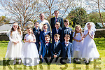Teacher Ger Foley with his pupils who received their 1st Holy Communion from Fr. Kieran O'Sullivan in St. James' Church, Glenbeigh on Saturday.