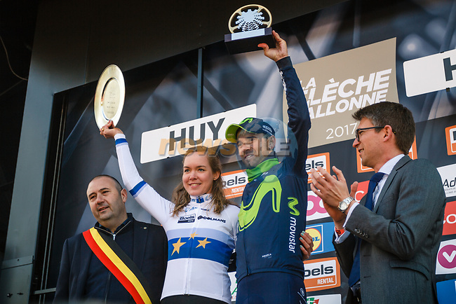 Alejandro Valverde (ESP) Movistar Team wins his 5th Fleche on the podium with Anna Van Der Breggen (NED) Boels Dolmans Cyclingteam who wins her 3rd consecutive Women Elite Race at the end of La Fleche Wallonne 2017, Huy, Belgium. 19th April 2017. Photo by Thomas van Bracht / PelotonPhotos.com