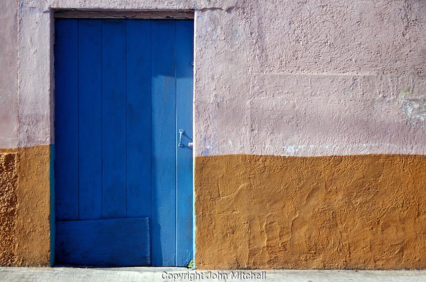 Blue door of a house in the town of San Miguel de Cozumel, Isla de Cozumel, Quintana Roo, Mexico